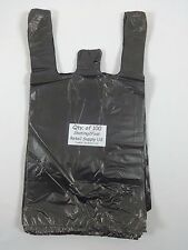 100 Qty Black Plastic T Shirt Retail Shopping Bags With Handles 8 X 5 X 16 Sm