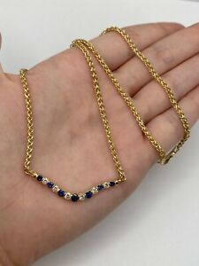 Solid 14k Gold Necklace with Natural Diamonds and Sapphire - 11 grams