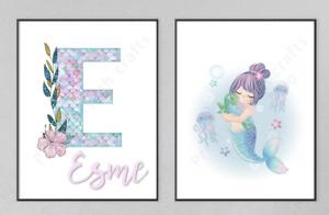 PERSONALISED Mermaid Letter Name Wall Art Print Nursery Bedroom Set of2 Unframed