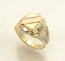 Sz 7.5 Men's Engravable Pinky Signet Ring Real Solid 10K Yellow White Rose Gold