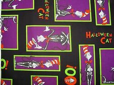 """13"""" x 43"""" Dr Seuss Cat In The Hat Halloween Patch Spooktacular on Cotton Fabric"""