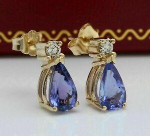 3 Ct Pear Cut Blue Tanzanite & Diamond Stud Earrings 14K Yellow Gold Over
