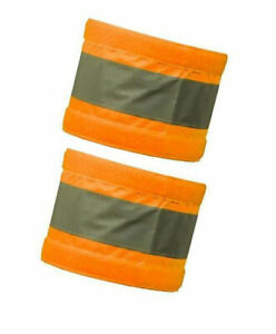 """Pair Armband Reflective 2 Arm Bands Hi Visibility Large Viz Orange Bands 18 X 4"""""""