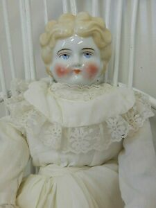 "Antique German 16"" Blonde Low Brow China Head Doll w/ New Cloth Body & Clothes"