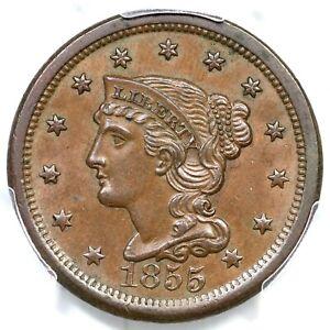 1855 N-5 R-5- PCGS MS 63 BN CC#4 Braided Hair Large Cent Coin 1c