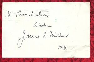 James A. Michener / Author / Hand Signed Postcard - Oct. 4, 1986 LOOK!!!