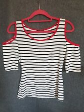 Jane Norman top size 8 black and white stripes with red trim.