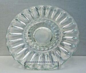 "Retro LARGE 🍰 13"" CAKE PLATE Platter  🍰  MCM Mid-Century Indiana Glass"