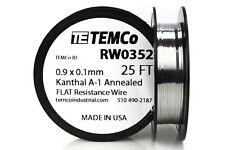 TEMCo Flat Ribbon Kanthal A1 Wire 0.9mm x 0.1mm 25 Ft Resistance A-1