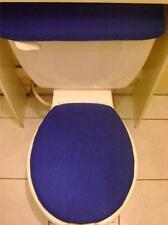 ROYAL DARK BLUE COLOR Fleece Fabric- Elongated Toilet  Seat Lid & Tank Cover Set