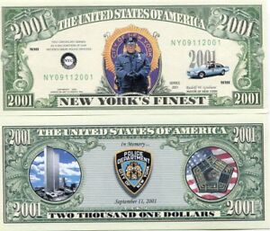 New Yorks Finest 2001 Dollars 9/11 Remembrance Novelty Note