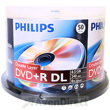 50 New Philips 8X Logo 8.5GB DVD+R DL Double Dual Layer FREE USPS Priority Mail