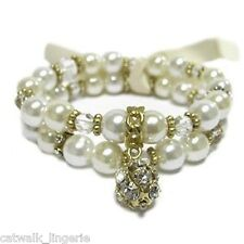 Crystal Ball Dangle Double Row Pearl Stretch Bracelet