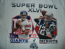 Super Bowl 46 Eli Manning Tom Brady T-shirt Adult Medium Giants Patriots XLVI