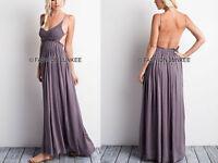 DARK GREY CROCHET MAXI Dress Backless Open Back Full Length Bridesmaid S M L