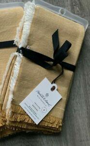 NEW! Hearth & Hand Magnolia Linen & Cotton Napkins Gold/Mustard 4 Pack Napkins