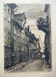 Peter Tom Petersen, etching. An old street in Elsinore 1921. Pupil of Bonnat