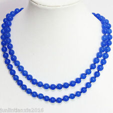 Natural 10mm Blue Round Sapphire Gemstone Bead Necklace 35'' AAA