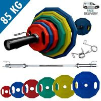 Olympic Polygonal Weights Set 85kg │ 6FT Barbell Bar Plates Collars by BodyRip