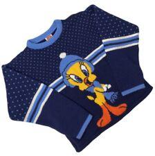 Vintage Tweety Bird Looney Tunes Girls Size Large 7/8 Knit Sweater Navy Blue