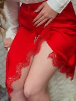 NEW The Kooples Beautiful Red Satin & Lace Skirt  RRP €288 K211