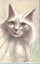 CUTE  WHITE  CAT    Signed Fredlander?    c1940s  Swiss  Postcard