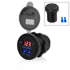 Universal 5V 2.1A USB Motorcycle Socket Charger Adapter Volt Meter Waterproof 1x