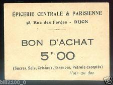 Dijon . Côte d'Or . Bourgogne . épicerie rue des Forges . Bon d'achat de 5 FR.