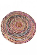 Natural Multi Coloured Recycled Braided Round Rug 50% Cotton 50% Jute - 90 cm
