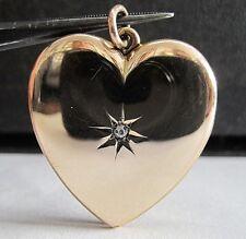 VINTAGE 10K ROSE GOLD HEART SHAPED DIAMOND 2 PHOTO FRAME MEMORY LOCKET