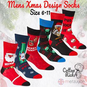 Mens 1 Pair Novelty Christmas Slogan Socks Cotton Rich Festive Winter Gift 6-11