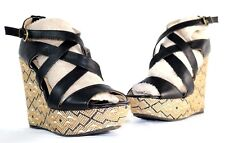 SODA High Heel Platform Wedge Women's Geometric Design Strappy Shoe Sz 7 1/2