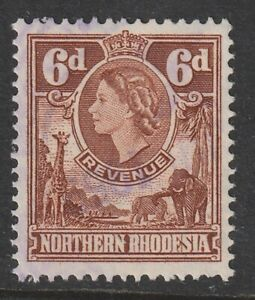 1955 Northern Rhodesia Bft:18 6d. Brown QE2 Revenue. Very Fine Used.