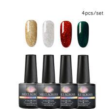 4Pcs/set MEET ACROSS Glitter UV Gel Top Base Coat Soak Off UV Gel Polish 8ml