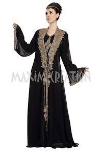 ARABIAN STYLE BLACK DESIGNER SEQUINS ABAYA MAXI FOR WOMEN BY MAXIM CREATION 5824
