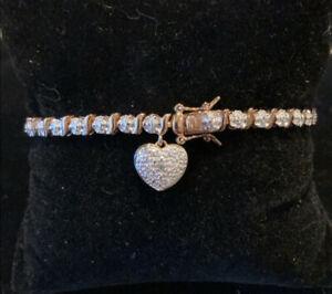 925 rose gold tone tennis bracelet with heart charm diamond chip 7 1/4