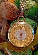 Vintage LUCERNE Pendant Watch Swiss Made Wind Up  Rotating Jeweled Bezel Working
