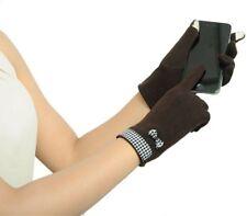Gants hiver feminin marron polaires vichy smartphone ecran tactile pinup