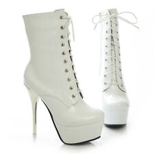 Women Patent Leather High Heel Lace Up Platform Ankle Boots Shoes Stiletto Pumps