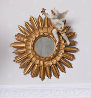 Barock Spiegel Engelfigur vintage Wandspiegel gold Sonnenspiegel Cupid Skulptur