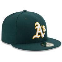 New Era 5950 OAKLAND A's ATHLETICS Road MLB Baseball Cap Green Hat On Field