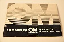 Olympus OM System Quick Auto 310 Manual, Original, c1976, Not a Copy!