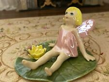 Vintage Miniature Dollhouse ARTISAN Porcelain Fairy Child Lily Pad Hand Sculpted
