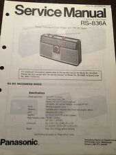 Original Technics Model RS-836A Portable 8-Track Radio Service Manual