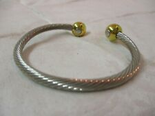 Cuff Bracelet silver tone twisted cable & gold tone beads (H)