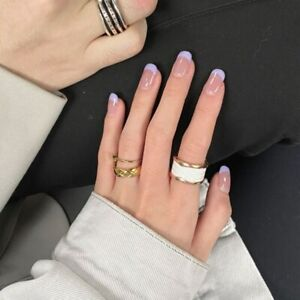Purple Nude Short Natural Nail Artificial Finished Full False Nails Tips Patch