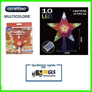 PUNTALE STELLA PER ALBERO DI NATALE LUMINOSO CON 10 LED MULTICOLORE A BATTERIE