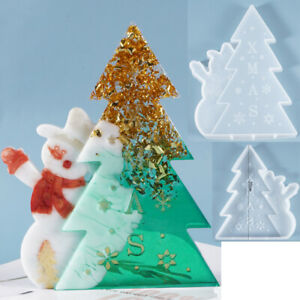 DIY Christmas Tree & Snowman Silicone Mold Xmas Party Ornament Epoxy Resin Mould