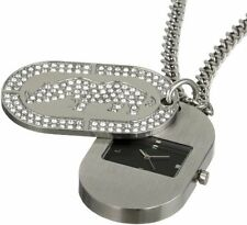 NEW RHINO BY MARC ECKO DOG TAG SILVER,GLITZ,MACDADDY,NECKLACE WATCH E8M086MV
