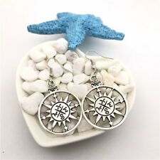 Compass Charm Earrings Tibet silver Charms Earrings Charm Earrings for Her